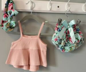Baby Girls Top Floral Bloomers & Headband Summer Outfit 3-6 Months