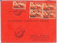 47385 - ITALIA REPUBBLICA - Storia Postale - Sass POSTA AEREA 135 X 5 su BUSTA