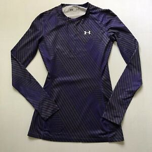 Under Armour Sz XS Cold Gear Purple Gray Striped Crew Neck LS Top Pullover