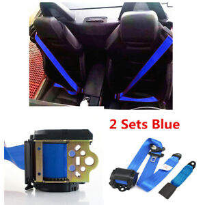 2Pcs 3-Point Seat Belt Adjustable Retractable Diagonal Belt Lap Blue Fit Car