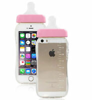 New Baby Pink Nipple Milk Bottle Case Cover For iPhone 6 6S With Rope