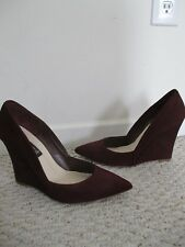 Steven by Steve Madden Wedge Serkurity Burgundy Suede Leather Shoes Size 10