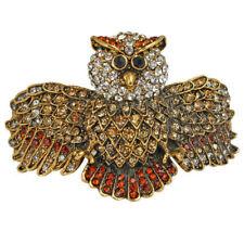 NEW KIRKS FOLLY SCREECH OWL CUFF BRACELET  ANTIQUE GOLDTONE/ TOPAZ