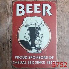 Metal Tin Sign beer proud sponsors of casual sex Bar Pub Retro Poster Cafe ART