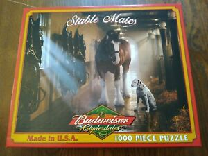 """""""Stable Mates"""" Budweiser Clydesdales White Mountain Puzzle 1000 Piece Puzzle"""