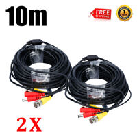 2 Packs 33ft CCTV DVR Camera Recorder Video RCA BNC Cable DC Power Security Wire