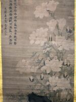 On Sales! Very Large Old Chinese Hand Painting Scroll Beautiful Flowers Marks