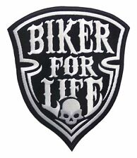 LARGE HARLEY DAVIDSON PATCH BIKER FOR LIFE, BIKERS PATCH SILVER COLOR STICKING