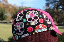 Cycling cap  skull &flowers  cotton fabric HANDMADE IN USA one size or any size