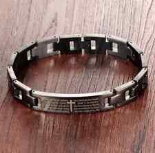 Stunning Stainless Steel Black Link Wristband Bible Lord's Prayer Cross Bracelet