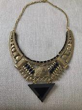 Beautiful New Geometric Tribal Zara Gems Statement Necklace In Black And Gold