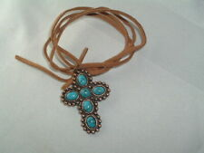 MEN'S COPPER TURQUOISE STONE GOTHIC CROSS LEATHER CORD PENDANT NECKLACE