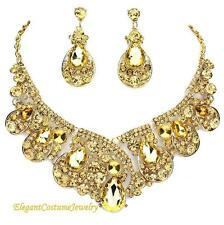 USA Gold Champagne Topaz Formal Necklace Set Elegant Mother of Bride Jewelry