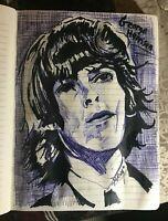 pen & sharpie drawing of George Harrison by artist Mark Robinson