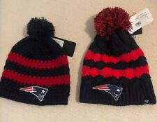 Two New England Patriots Womens Beanie Ball Knit Hats New With Tags