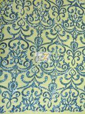 UNIQUE VINTAGE DAMASK SEQUINS FABRIC - Sapphire Blue - BY THE YARD BRIDAL DRESS