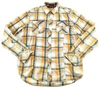 CARBON Size Medium Mens Plaid Western Shirt