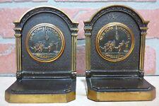 Antique NEW YORK UNIVERSITY Brass Decorative Art Bookends 1930s CS&C Co NYU