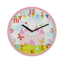 KIDDIWINKS PINK CHILDRENS WALL CLOCK - MAGICAL CASTLE DESIGN