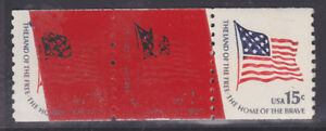US Sc 1618C MNH. 1978 Flag Coil Paste-up pair with red Bureau of Engraving Tape