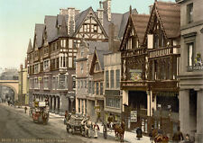 "P17 Vintage 1890's Photochrom Photo - Newgate St. Chester - Print A3 17""x12"""