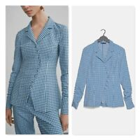 ZARA Womens Size S or 10 Long Sleeve Gingham