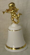 FABULOUS ROYAL DOULTON CHRISTMAS BELL WITH GOLD  ANGEL BOY WITH TRUMPET