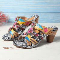SOCOFY Women Bohemia Leaf Leather Sandals Hook Loop Slip On Shoes Retro Slippers