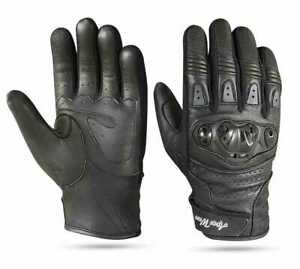 Motorbike Leather Gloves Knuckle Protection All weather Motorcycle Biker