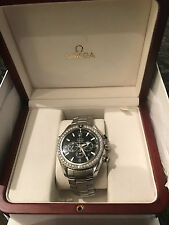 NEW Omega Seamaster Planet Ocean Men's Silver Wrist Watch with Diamond Bezel