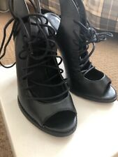 Black Asos Real Leather Laced Strappy Heels Shoes Size 6 Nearly New Boxed