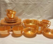 24-piece Anchor Hocking Fire King Peach Lustre Laurel Dish Set Plate Bowl E91315