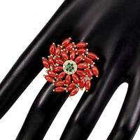 Natural Marquise Orange Coral Italy 6x3mm 925 Sterling Silver Big Ring