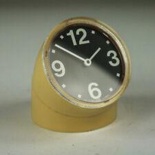 Tischuhr Ritz Italora Design Pio Manzù elektromechanisch Table Clock 60-70s gelb