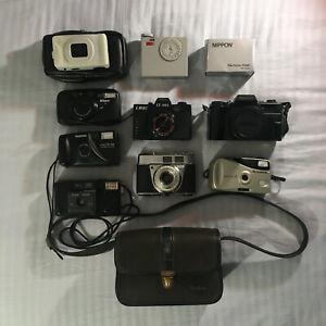 Lot of 8 Vintage 35mm Film Cameras and bags - Nikon, Kodak, Fujifilm, Lomo