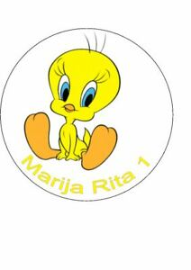 7.5 Tweety Pie rice paper cake topper personalised with any message.