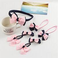 7pcs Headwear Set Rubber Band Accessories Printing Dot Bow Headband Hair clip UK