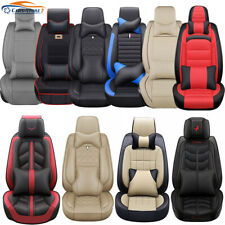 Us Luxury Car Seat Covers Top Pu Leather 5-Seats Front & Rear Universal Interior