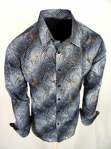 Charcoal Gray Paisley Shirt Mens Slim Fit Designer Fashion Button Up Gold Foil