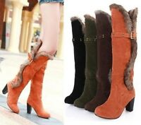 Womens Side Fur Decor Knee High Boots Ladies Winter Mid Heels Warm Boots Shoes