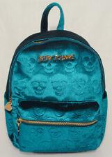 BETSEY JOHNSON - Teal Blue VELVET VELOUR SKULL Design Head of CLass BACKPACK NEW