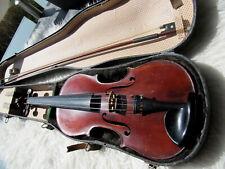Alte 4/4 Violine mit Bogen und Koffer Innenzettel,spialbar.