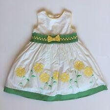Donita Girls Sz 3t Yellow White Green Fancy Dress Flowers Floral Bow