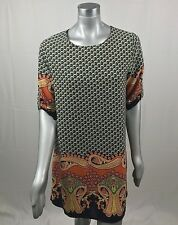 Anthropologie Freeway Woman Dress Casual 3/4 Roll Sleeve Invisible Zip Sz L