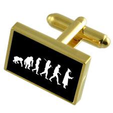 Evolution Ape To Man Graduation Gole-Tone Cufflinks Tie Clip Box Set Engraved