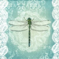 4x Single Table Party Paper Napkins for Decoupage Vintage Romantic Dragonfly