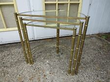 Faux bamboo 3 Nesting End Tables Metal Gold Hollywood Regency Demi Moon Cottage