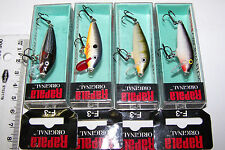 RAPALA FISHING LURES LOT OF 4,  F-3  ORIGINAL MINNOWS  Trout, Bass, Perch, Cod.