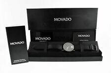 Movado Museum Black Ion 40mm Stainless Steel Leather Quartz Watch 84.G1.1855A