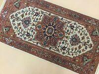 2' x 4' Beige Rust Very Fine Geometric Oriental Area Rug Hand Knotted Wool